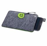 Etui na dużego smartfona Eco Sense, zielony/szary z logo (R17680.05)