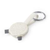 Brelok do kluczy ze słomy pszenicznej, kabel do ładowania i synchronizacji (V0375-00)