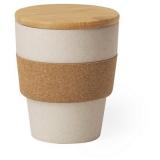 Bambusowy kubek podróżny 350 ml z korkowym wieczkiem i obręczą (V0885-00)