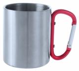 Metalowy kubek 200 ml z karabińczykiem (V8437-05)