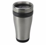 Kubek izotermiczny Boden 430 ml, czarny/srebrny z logo (R08367.02)