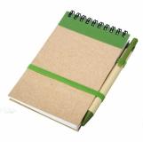 Notes eco z długopisem, zielony/beżowy z logo (R73795.05)