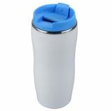 Kubek izotermiczny Astana 350 ml, niebieski/biały z nadrukiem (R08325.04)