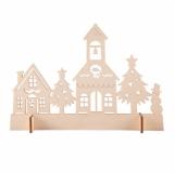 Drewniana wycinanka Xmas Town, beżowy z logo (X91021.13)