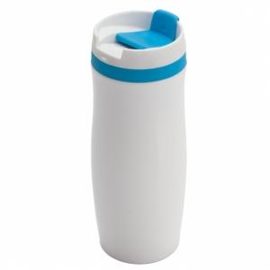 Kubek izotermiczny Viki 390 ml, niebieski/biały z grawerem (R08336.04)
