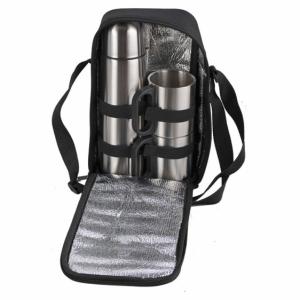 Zestaw izotermiczny Happy Outing, czarny/srebrny z logo (R08215)