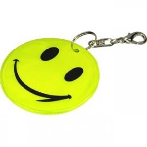 Brelok odblaskowy Happy, żółty z nadrukiem (R73246)