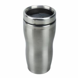 Kubek izotermiczny Sudbury 380 ml, srebrny/czarny z logo (R08393)