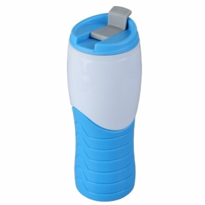Kubek izotermiczny Snag 400 ml, niebieski/biały z logo (R08327.04)