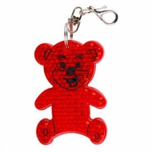 Brelok odblaskowy Teddy, czerwony z logo (R73235.08)